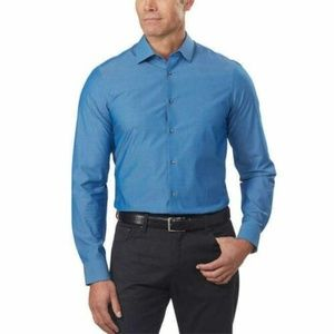 Calvin Klein Mens Dress Shirt Blue Slim Fit 4-Way